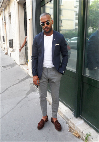 How to wear: navy blazer, white crew-neck t-shirt, grey chinos, dark brown leather tassel loafers