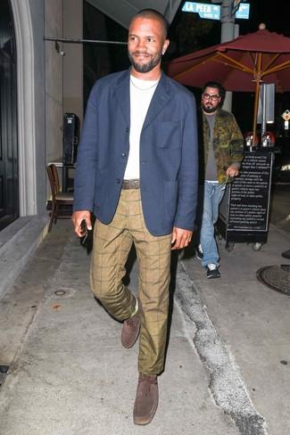 How to wear: navy blazer, white crew-neck t-shirt, khaki check chinos, dark brown suede desert boots