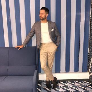 How to wear: grey plaid blazer, white crew-neck t-shirt, khaki chinos, dark brown suede oxford shoes