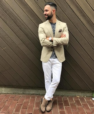How to wear: beige blazer, navy and white horizontal striped crew-neck t-shirt, white chinos, brown suede double monks