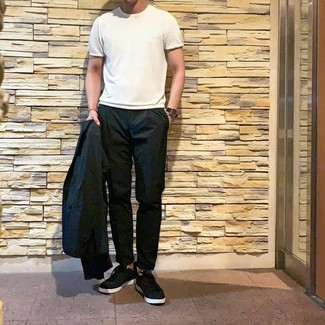 How to wear: black blazer, white crew-neck t-shirt, black chinos, black low top sneakers