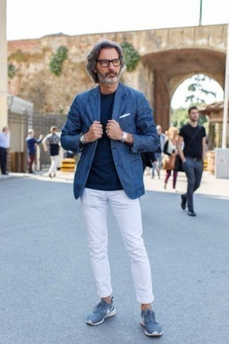 Silver Watch Outfits For Men: This urban pairing of a blue denim blazer and a silver watch is capable of taking on different moods depending on how you style it. Our favorite of a countless number of ways to finish this outfit is with blue athletic shoes.