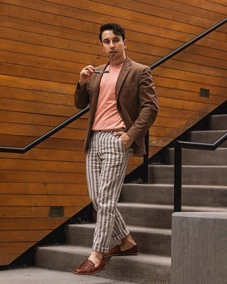 White Vertical Striped Chinos Outfits: A brown blazer and white vertical striped chinos teamed together are the ideal look for gents who appreciate polished combos. A pair of brown woven leather loafers easily turns up the classy factor of any getup.