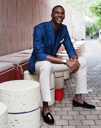 Men's Blue Blazer, Black Crew-neck T-shirt, White Chinos, Black Embroidered Suede Loafers