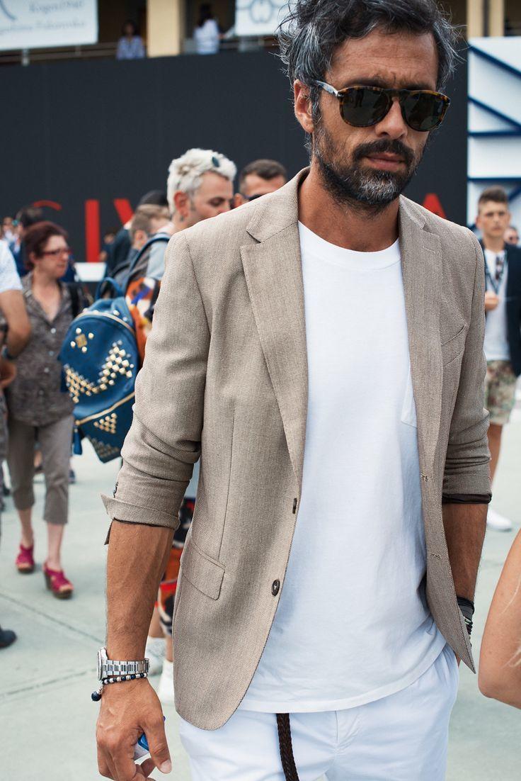 Beige Linen Blazer | Men's Fashion