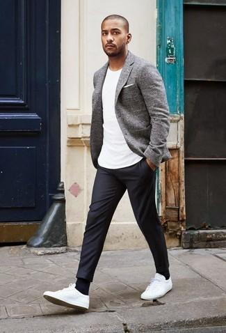 Men's Grey Plaid Blazer, White Crew-neck T-shirt, Charcoal Dress Pants, White Low Top Sneakers