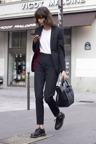 How to wear: black blazer, white crew-neck t-shirt, black dress pants, black chunky leather oxford shoes