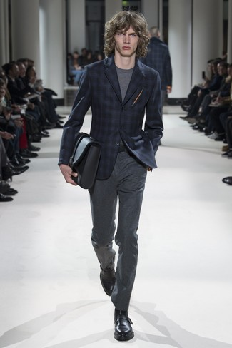 How to wear: navy plaid blazer, grey crew-neck t-shirt, charcoal wool dress pants, black leather monks