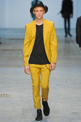 Men's Yellow Blazer, Black Crew-neck T-shirt, Yellow Dress Pants ...