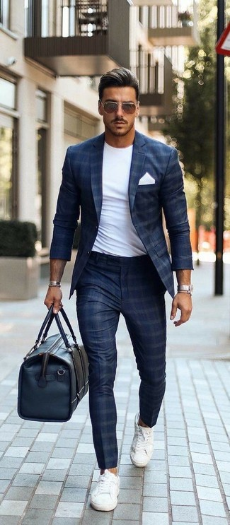 How to wear: navy check blazer, white crew-neck t-shirt, navy check dress pants, white canvas low top sneakers