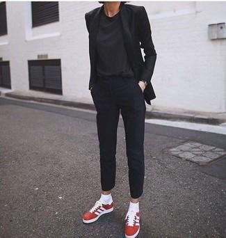 How to wear: black blazer, black crew-neck t-shirt, black dress pants, red suede low top sneakers