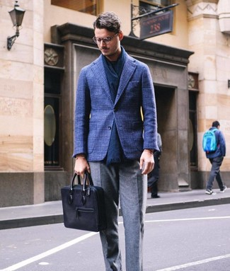 How to wear: navy plaid wool blazer, navy crew-neck t-shirt, grey wool dress pants, black leather briefcase