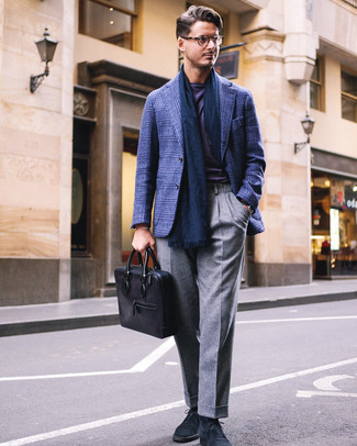 How to wear: navy plaid blazer, violet crew-neck t-shirt, grey wool dress pants, navy suede desert boots