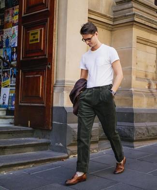 How to wear: dark purple blazer, white crew-neck t-shirt, dark green corduroy dress pants, brown leather loafers