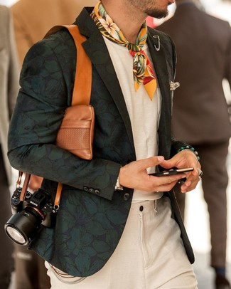 How to wear: dark green floral blazer, white crew-neck t-shirt, beige linen dress pants, yellow floral bandana