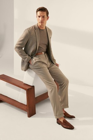 How to Wear Khaki Dress Pants For Men: Wear a grey blazer and khaki dress pants if you're going for a neat, stylish ensemble. A pair of brown leather loafers looks perfect rounding off this outfit.