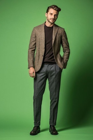 How to Wear Dark Brown Leather Loafers For Men: Loving the way this combination of a brown houndstooth blazer and grey wool dress pants instantly makes men look refined and smart. Add a pair of dark brown leather loafers to the mix et voila, your look is complete.