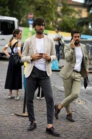 How to Wear Burgundy Leather Derby Shoes: A beige blazer and charcoal dress pants are absolute staples if you're planning a classic wardrobe that matches up to the highest men's style standards. Let your styling prowess truly shine by complementing your ensemble with burgundy leather derby shoes.