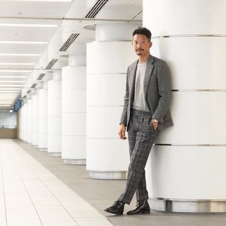 Grey Crew-neck T-shirt Outfits For Men: For a smart casual outfit, choose a grey crew-neck t-shirt and charcoal check dress pants — these two items fit nicely together. Bring an easy-going feel to your outfit by wearing a pair of black leather desert boots.