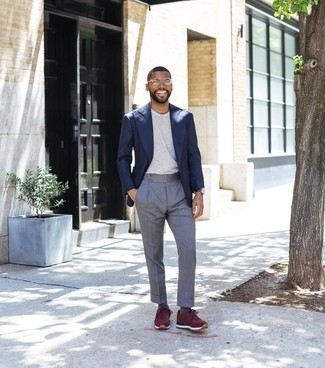 Athletic Shoes with Dress Pants Outfits For Men: This outfit clearly illustrates it is totally worth investing in such smart menswear items as a navy blazer and dress pants. And if you need to instantly dress down this ensemble with a pair of shoes, add athletic shoes to your look.