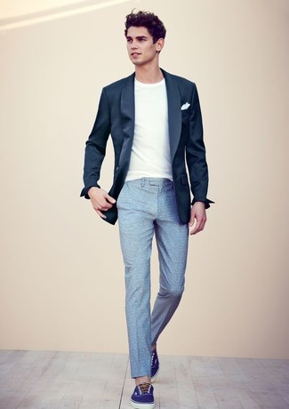 How To Wear a Navy Blazer With Light Blue Pants | Men's Fashion