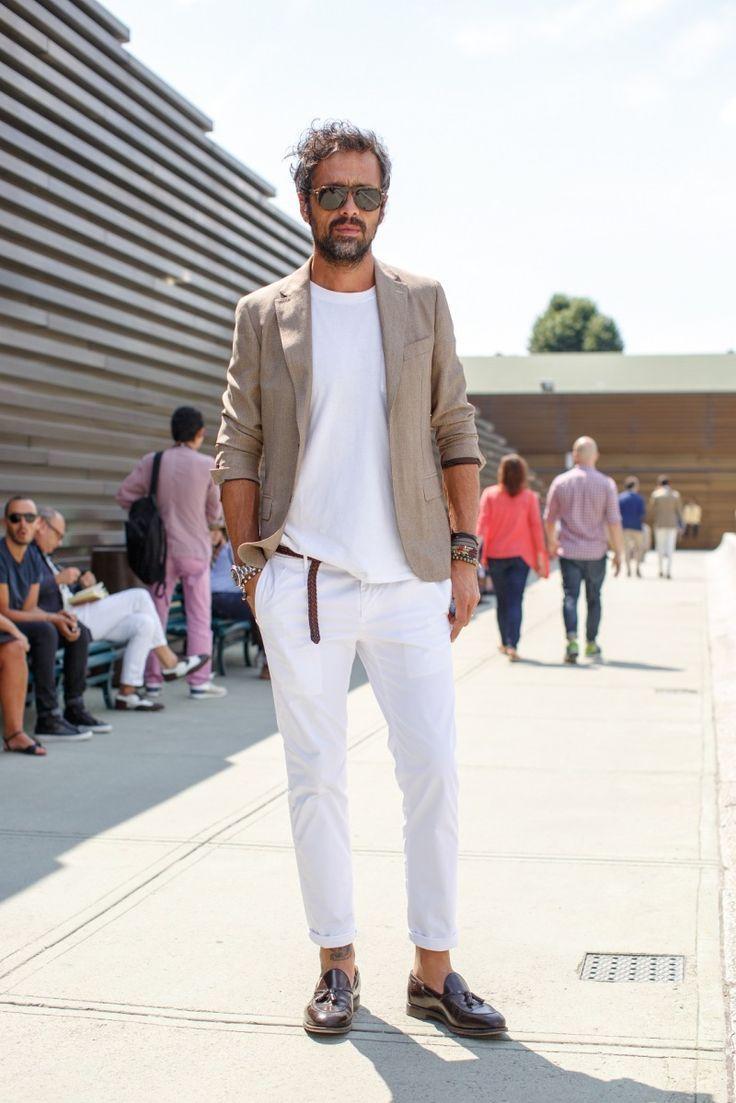 Men's Beige Linen Blazer, White Crew-neck T-shirt, White Linen ...