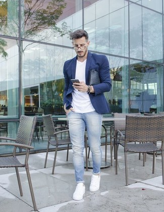 Men\u0027s Navy Blazer, White Crew,neck T,shirt, Light Blue Jeans