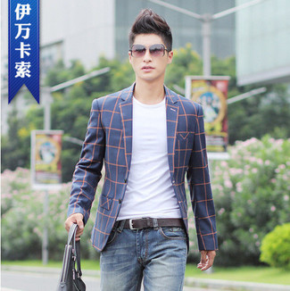 Men's Navy Plaid Blazer, White Crew-neck T-shirt, Blue Jeans, Grey ...