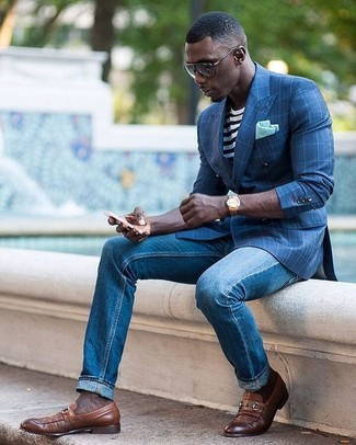 Men's Blue Check Blazer, White and Black Horizontal Striped Crew-neck T-shirt, Blue Jeans, Brown Leather Loafers