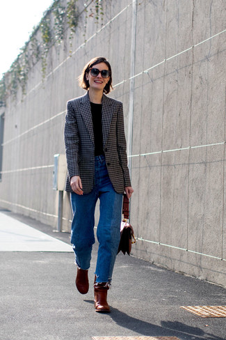 How to wear: black check blazer, black crew-neck t-shirt, blue jeans, burgundy leather ankle boots