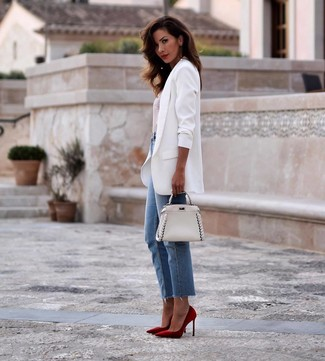 How to wear: white blazer, white and red horizontal striped crew-neck t-shirt, blue jeans, red suede pumps