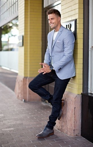 How to Wear a Light Blue Blazer For Men: For a smart casual getup, pair a light blue blazer with navy jeans — these two pieces play nicely together. You can get a bit experimental on the shoe front and add grey leather brogues to the mix.