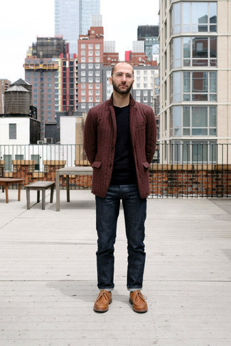 Burgundy Blazer Outfits For Men: When the dress code calls for a polished yet neat ensemble, go for a burgundy blazer and navy jeans. Consider tobacco leather desert boots as the glue that pulls your look together.