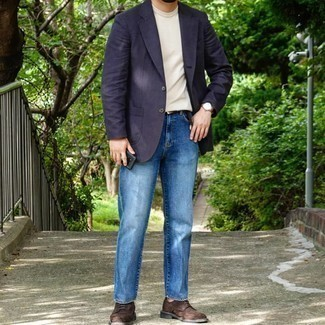 Black Woven Leather Belt Outfits For Men: You'll be surprised at how extremely easy it is for any man to put together a casual street style look like this. Just a navy blazer and a black woven leather belt. For a more elegant spin, add dark brown suede brogues to the equation.