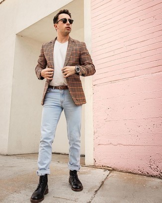 Light Blue Jeans Outfits For Men: Wear an orange check blazer with light blue jeans to demonstrate your styling smarts. Finishing off with black leather casual boots is a simple way to infuse a hint of class into your ensemble.