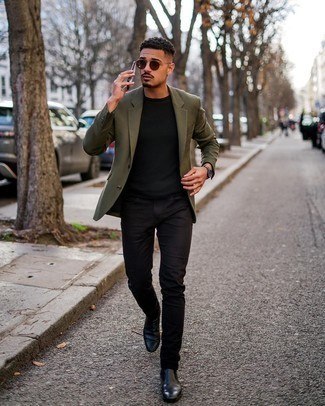 Olive Blazer Outfits For Men: When the occasion calls for a casually sleek outfit, go for an olive blazer and black jeans. Here's how to level up this getup: black leather chelsea boots.