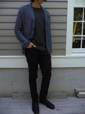 Men's Navy Linen Blazer, Black Crew-neck T-shirt, Black Jeans, Black Leather Chelsea Boots