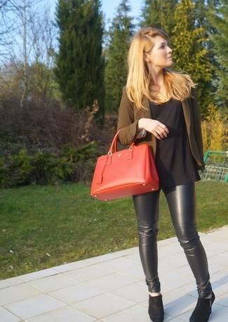 Women's Olive Blazer, Black Crew-neck T-shirt, Black Leather ...