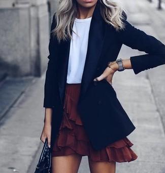 How to wear: black blazer, white crew-neck t-shirt, burgundy ruffle mini skirt, black leather tote bag