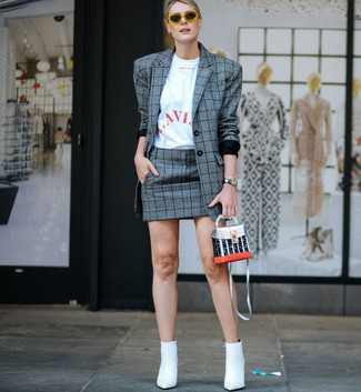 How to wear: grey plaid blazer, white and red print crew-neck t-shirt, grey plaid mini skirt, white leather ankle boots