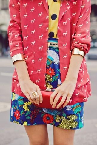 Women's Red Print Blazer, Yellow Polka Dot Crew-neck T-shirt, Blue Floral Mini Skirt, Red Leather Clutch