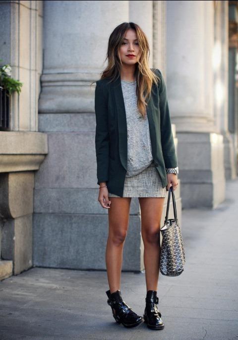 Women's Dark Green Blazer, Grey Crew-neck T-shirt, Grey Mini Skirt ...