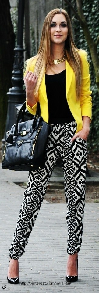 How to wear: yellow blazer, black crew-neck t-shirt, black and white print pajama pants, black leather pumps