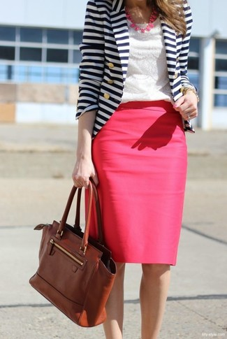 How to wear: white and navy horizontal striped blazer, white lace crew-neck t-shirt, hot pink pencil skirt, brown leather satchel bag