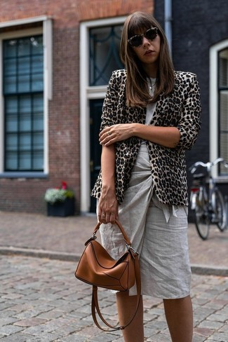 How to wear: beige leopard blazer, grey crew-neck t-shirt, grey pencil skirt, tobacco leather crossbody bag