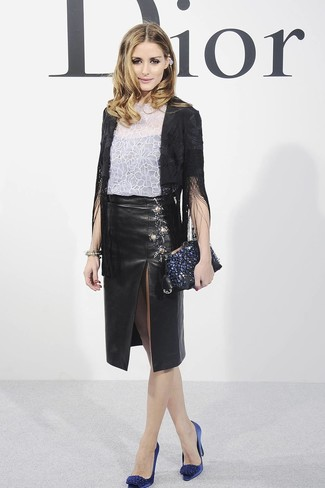 How to wear: black fringe blazer, white floral lace crew-neck t-shirt, black slit leather pencil skirt, navy embellished satin pumps