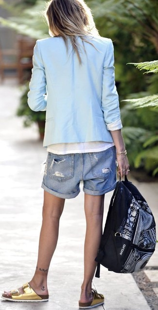 How to wear: light blue blazer, white crew-neck t-shirt, blue ripped denim shorts, gold leather flat sandals