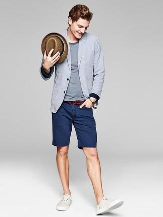 Men's Grey Vertical Striped Blazer, Grey Crew-neck T-shirt, Navy Denim Shorts, White Plimsolls