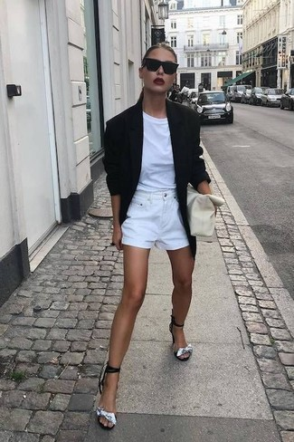 How to wear: black blazer, white crew-neck t-shirt, white denim shorts, black and silver suede heeled sandals