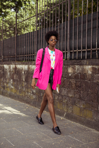 How to wear: hot pink blazer, white tie-dye crew-neck t-shirt, black leather shorts, black leather loafers